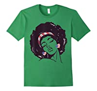 Black Girl Us Flag Melanin Afro 4th Of July African American T-shirt Forest Green