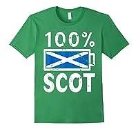 Scotland Flag T Shirt 100 Scot Battery Power Tee Forest Green