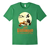 Happy Halloween With Extraordinary Dogs And Cats T Shirt Forest Green