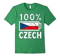 Czech Republic Flag Shirt 100 Czech Battery Power Tee Forest Green