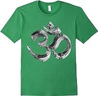 Om Yoga Chrom Zeichen   Buddha Vishnu Liebe Schwarz Weiß T-shirt Forest Green