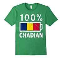 Chad Flag T Shirt 100 Chadian Battery Power Tee Forest Green