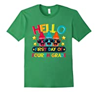 Hello First Day Of Fourth Grade Cute Crayon Student Tea Shirts Forest Green