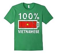 Vietnam Flag T Shirt 100 Vietnamese Battery Power Tee Forest Green