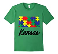 Autism Awareness Day Kansas Puzzle Pieces Gift Shirts Forest Green