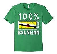 Brunei Flag T Shirt 100 Bruneian Battery Power Tee Forest Green