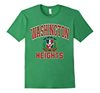 Washington Heights Dominican Flag Shield Varsity Style T Shirt Forest Green