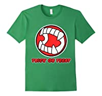 Funny Creepy Halloween Vampire Tooth Trick Treat Shirts Forest Green