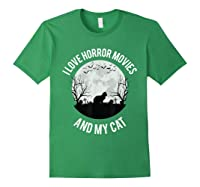 I Love Horror Movies And My Cat T Shirt Forest Green