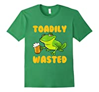 Funny Frog Drink Beer Toadily Wasted Beer Party Gift T Shirt Forest Green