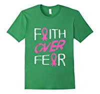 Faith Over R Breast Cancer Awareness Month Pink Ribbon Tank Top Shirts Forest Green