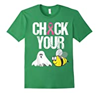 Check Your Boo Bees Shirt Funny Breast Cancer Halloween Gift Forest Green