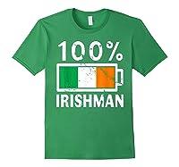 Ireland Flag T Shirt 100 Irishman Battery Power Tee Forest Green