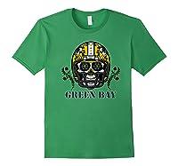 Green Bay Football Helmet Sugar Skull Day Of The Dead Premium T-shirt Forest Green