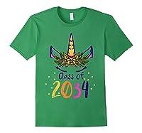 Unicorn Face Class Of 2034 First Day Kindergarten Girls Gift T-shirt Forest Green