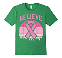 Believe Retro Sunset Pink Ribbon Breast Cancer Awareness T Shirt Forest Green
