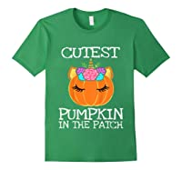 Cutest Pumpkin In The Patch Unicorn Halloween Girls Gift Shirts Forest Green