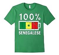 Senegal Flag T Shirt 100 Senegalese Battery Power Forest Green