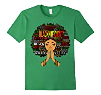 Blacknificient Words Art Afro Natural Hair Black Queen Gift Shirts Forest Green