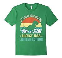 Born August 53 Limited Edition 53rd Birthday Dinosaur Shirts Forest Green