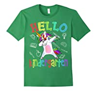Hello Kindergarten Unicorn Tshirt Funny Back To School Gift Forest Green