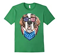 Fourth Of July Bernard American Flag July 4th St Bernard Dog T Shirt Forest Green