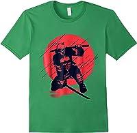 Marvel Deadpool Red Moon Samurai Graphic T-shirt Forest Green