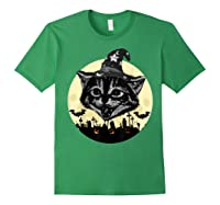 Vintage Scary Halloween Black Cat Witch Hat Moon Pumpkin Bat T Shirt Forest Green