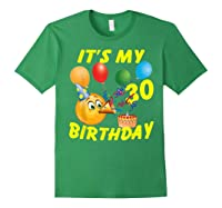 Funny Emoji It's My 30th Birthday 30 Years Old Shirts Forest Green