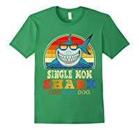 Vintage Single Mom Shark T Shirt Birthday Gifts For Family Forest Green