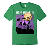 Spoopy Funny Halloween Black Cat Witch Hallow S Eve Joke T Shirt Forest Green
