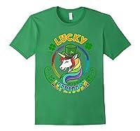 Saint Patrick S Day Unicorn T Shirt Lucky Lepricorn Forest Green