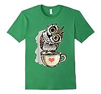 Cute Owl Cartoon Bird Hand Draw T Shirt Design Forest Green