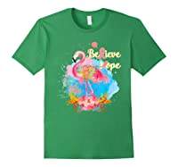 Pink Flamingo Believe Hope Breast Cancer Awareness Month T Shirt Forest Green