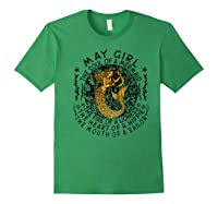 May Girl The Soul Of A Mermaid Tshirt Birthday Gifts Premium T Shirt Forest Green
