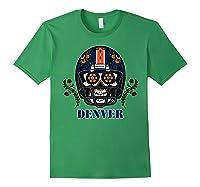 Denver Football Helmet Sugar Skull Day Of The Dead T Shirt Forest Green