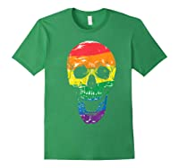 Lgbt Gay Pride T-shirt Skull Rainbow Forest Green