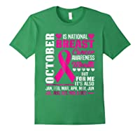 October Is Breast Cancer Awareness Month Shirt Pink Ribbon Forest Green