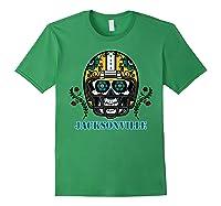 Jacksonville Football Helmet Sugar Skull Day Of The Dead T Shirt Forest Green