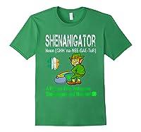 Shenanigator Tshirt Saint Patrick Day Irish Four Leaf Clover Forest Green