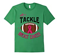 Breast Cancer Awareness Month Football Pink Ribbon T Shirt Forest Green