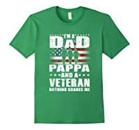 S I Am A Dad A Pappa And A Veteran T Shirt Fathers Day Gift Forest Green