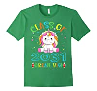 Class Of 2031 Grow With Me Unicorn Back To School Shirts Forest Green