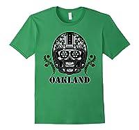 Oakland Football Helmet Sugar Skull Day Of The Dead T Shirt Forest Green