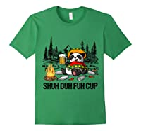 Shuh Duh Fuh Cup Bear Drinking Beer Camping Funny Panda T Shirt Forest Green