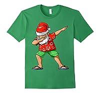 Dabbing Santa Christmas In July Party Hawaiian Santa Beach Shirts Forest Green