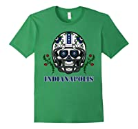 Indianapolis Football Helmet Sugar Skull Day Of The Dead T Shirt Forest Green