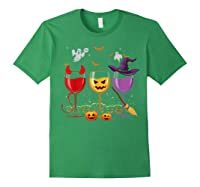 Three Glasses Of Wines Funny Halloween Wine Lover Shirts Forest Green