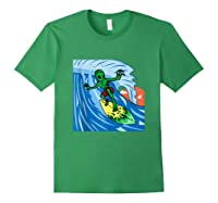 Area-51 Alien Surfing Ocean Wave Lazy Surfer Halloween Gift Tank Top Shirts Forest Green