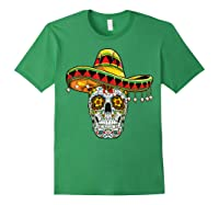 Day Of The Dead Sugar Skull Funny Cinco De Mayo T Shirt Forest Green